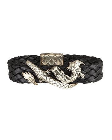John Hardy Woven Leather Dragon Bracelet