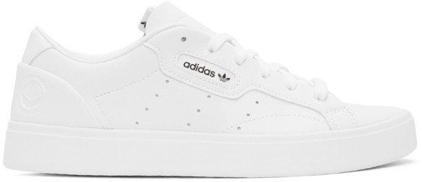 White Vegan Leather PrimeGreen Sleek Sneakers