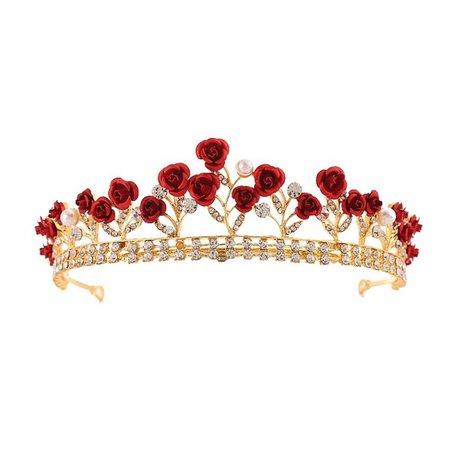 Princess Vintage Alloy Red Rose Rhinestone Gold Color Wedding Jewelry Bridal Tiara Headwear Hair Crown Diadem | Wish