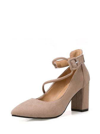 Ankle Strap Pointed Toe Chunky Heels