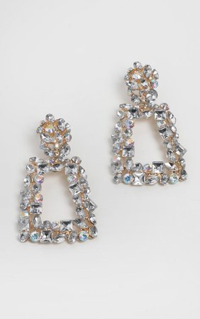 Gold Crystal Door Knocker Earrings   PrettyLittleThing USA