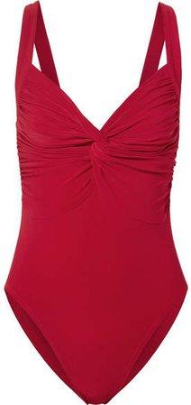 Twist Mio Ruched Swimsuit - Red