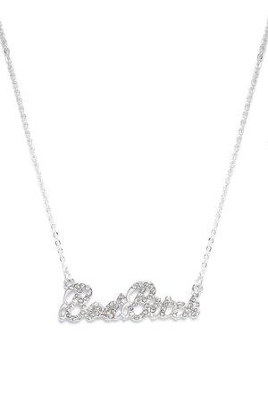 Bad Bitch Rhinestone Pendant Necklace - Silver
