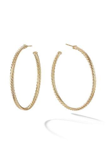 David Yurman 18kt Yellow Gold Cablespira Hoop Earrings - Farfetch