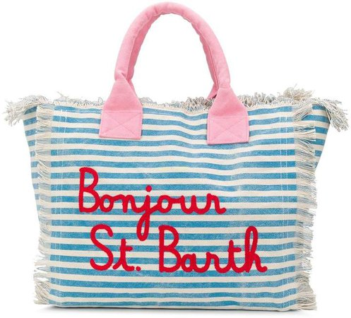 Bonjour striped tote bag