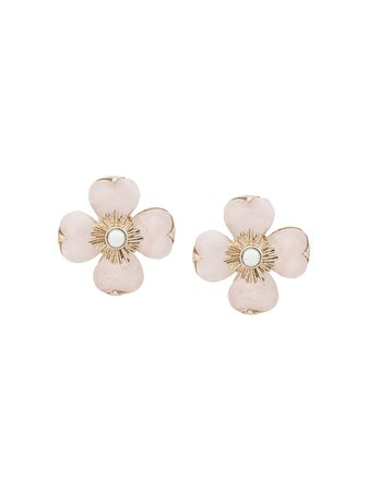 Shop pink Goossens flower earrings with Express Delivery - Farfetch