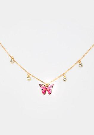 Butterfly Charm Rhinestone Chain Necklace - Gold   Dolls Kill