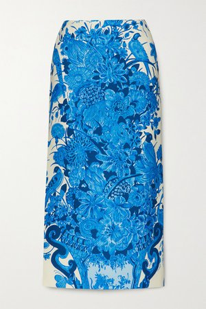 Printed Wool And Silk-blend Midi Skirt - Blue