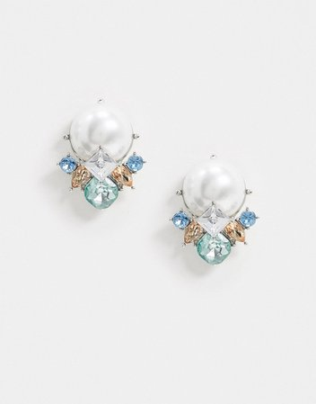 True Decadence pearl stud cluster embellished earrings | ASOS