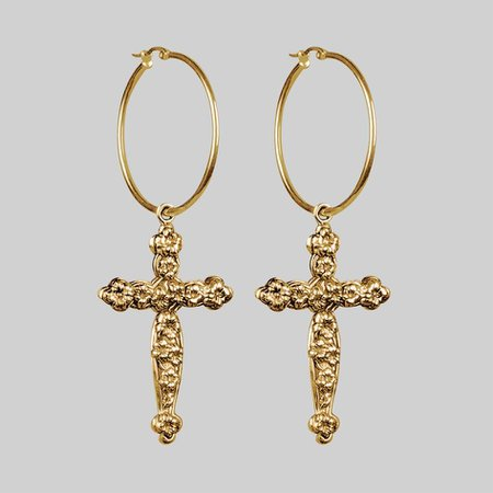 gold cross earrings - Google Search