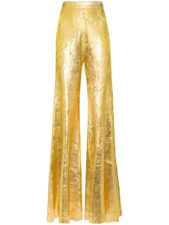 Shop gold Halpern high-waisted flared trousers with Express Delivery - Farfetch