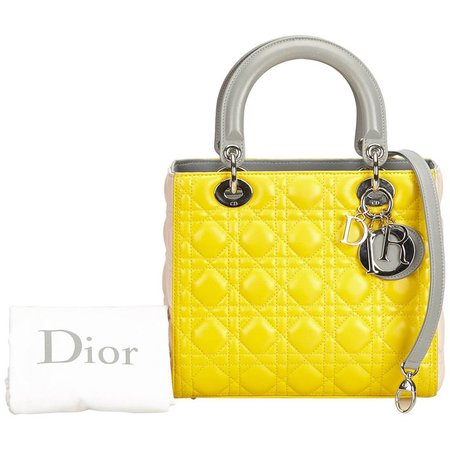 Dior Yellow x Gray Medium Cannage Tri-Color Lady Dior For Sale at 1stdibs