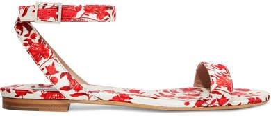 Johanna Ortiz Judy Floral-print Satin-twill Sandals - Red