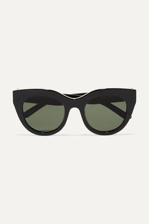 Black Air Heart cat-eye acetate and gold-tone sunglasses   Le Specs   NET-A-PORTER