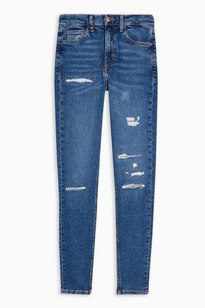 Mid Blue Rip and Repair Jamie Skinny Jeans | Topshop