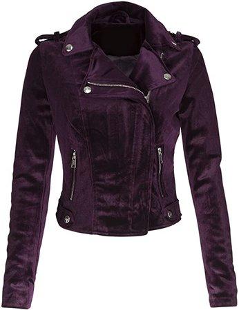 Glam and Gloria Womens Purple Velvet Moto Biker Jacket at Amazon Women's Coats Shop