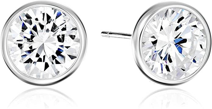 Sterling Silver AAA Cubic Zirconia Bezel Stud Earrings (8mm): Jewelry