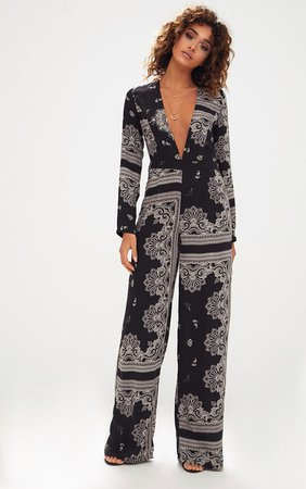 Black Scarf Print Long Sleeve Plunge Jumpsuit | PrettyLittleThing USA