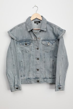 Light Wash Denim Jacket - Ruffled Shoulder Jacket - Jean Jacket