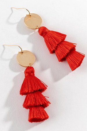 Daphne Tassel Earrings in Red | francesca's