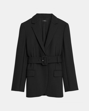 Belted Blazer in Bi-Stretch Wool