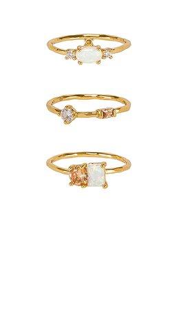 gorjana Hudson Ring Set in Opalite & Gold | REVOLVE