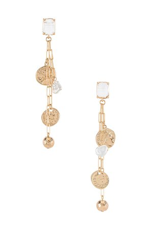 Amber Sceats Pearl Coin Drop Earrings in Gold | REVOLVE