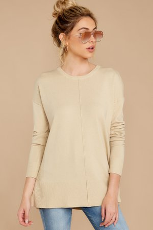 Dainty Beige Sweater - Yoked Bodice Ribbed Seamed Sweater - Top - $38