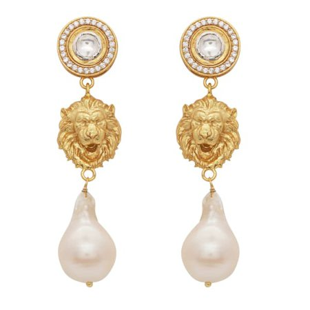 Crystal and Pearl Lion Earrings | Carousel Jewels | Wolf & Badger