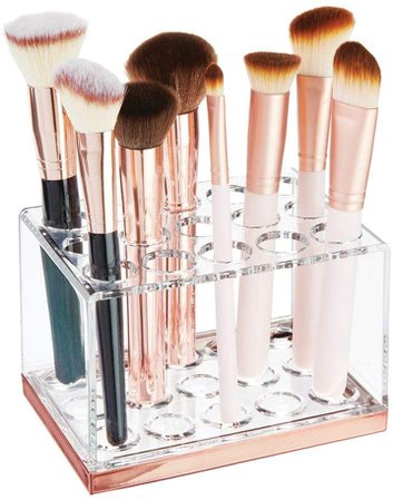 Amazon.com: mDesign Plastic Makeup Brush Storage Organizer with 15 Slots for Bathroom Countertop, Vanity to Hold Eye/Lip Pencils, Lip Gloss, Liners, Lipstick - Clear/Rose Gold: Gateway