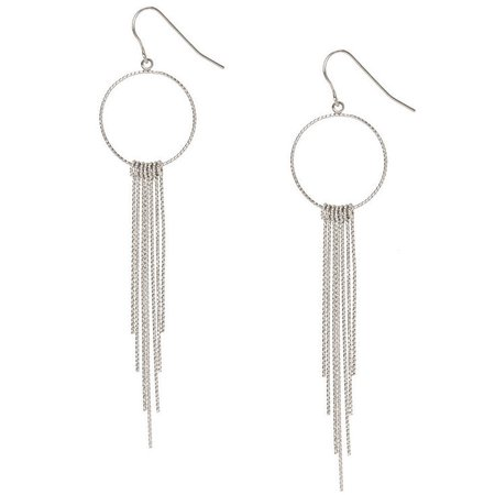 Silver-tone Silver Open Circle with Bar Fringe Drop Earrings | Claire's US