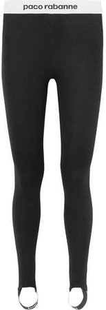 Printed Stretch-jersey Stirrup Leggings - Black