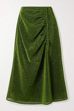 Gathered Lurex Midi Skirt - Lime green
