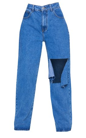 Mid Blue Wash Extreme Knee Rip Boyfriend Jeans   PrettyLittleThing USA