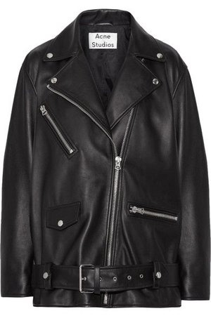 ACNE STUDIOS Mock Core Leather Moto Jacket in Black
