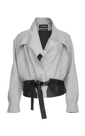 SITUATIONIST Belted Waist Wool And Leather Jacket