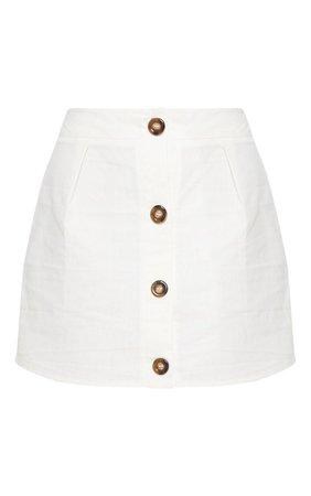 White Cotton Button Detail Mini Skirt | PrettyLittleThing