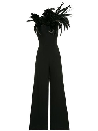 Isabel Sanchis Feathered One Shoulder Jumpsuit - Farfetch