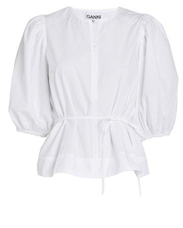 GANNI   Cotton Poplin Puff Sleeve Top   INTERMIX®