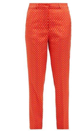 Diamond Jacquard Capri Trousers - Womens - Orange Multi