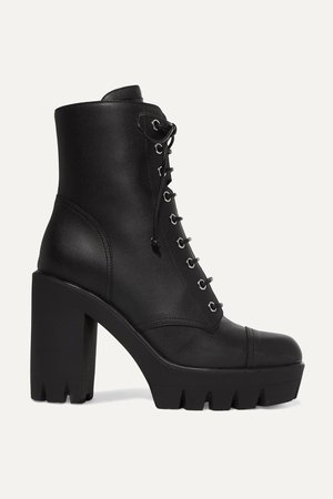 Black Leather platform ankle boots | Giuseppe Zanotti | NET-A-PORTER