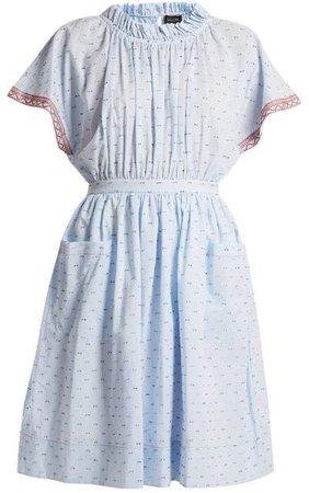 Dakota Seersucker Cotton Blend Dress - Womens - Light Blue