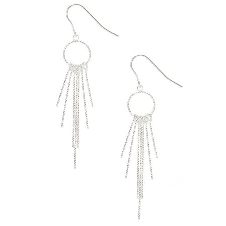 Silver Open Circle Bar Fringe Drop Earrings | Claire's US