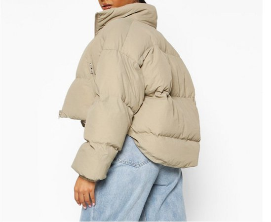 boohoo neck funnel cropped puffer