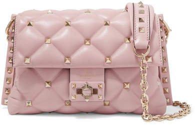 Garavani Candystud Medium Quilted Leather Shoulder Bag - Pastel pink