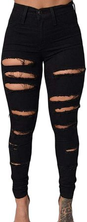 HEFASDM Women Stretchable Tights Capris Sexy Ripped Holes Highwaist Ankle Jeans Black M at Amazon Women's Jeans store