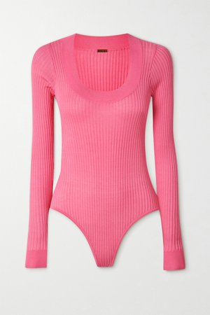 Pink Teddy ribbed-knit bodysuit | Dodo Bar Or | NET-A-PORTER