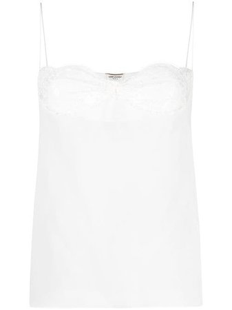 Shop white Saint Laurent sheer tank top with Express Delivery - Farfetch