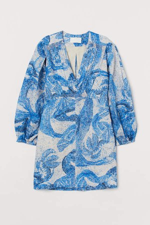 Mosaic-patterned Linen Dress - Blue