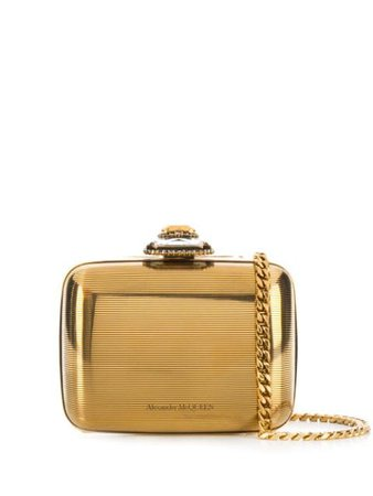 Shop gold Alexander McQueen crystal-embellished metal clutch with Express Delivery - Farfetch